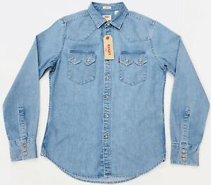 Levi-039-s-Western-Denim-Shirt-Light-Wash-Men-039-s-Slim-Fit-Size-S-XL
