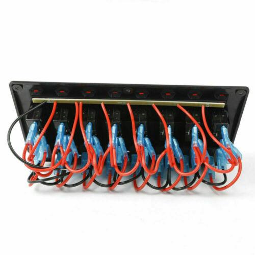 DC 12V//24V 8 Gang LED Schaltpanel Schalter Schalttafel für Auto Bus Boot DHL DE