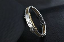 Mens Stainless Steel Two Tone Twisted Cable CZ Crystal Bangle Bracelet +Box B302