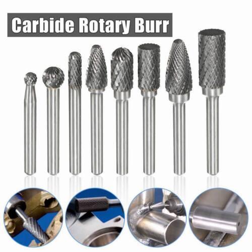 8Pcs 1//4/'/' Shank Double Cut Carbide Rotary Burr Bur Die Grinder Carving Bit