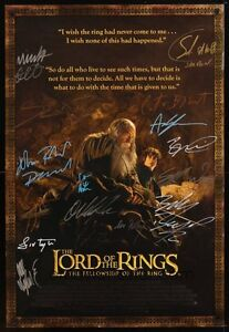 entire cast autographed lord of the rings fellowship of the ring
