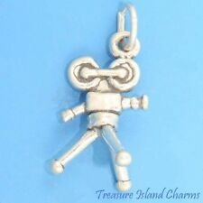 MOVIE VIDEO CAMERA ON TRIPOD CINEMA FILM 3D .925 Solid Sterling Silver Charm