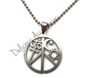 Coexist pendant necklace star of david cross ohm islamic moon peace image is loading coexist pendant necklace star of david cross ohm aloadofball Images