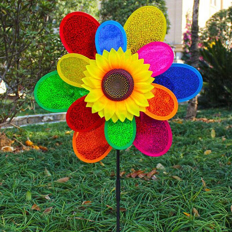 Double Layer Colorful Sunflower Windmill Kids DIY Outdoor Toys Garden Yard De;Z6