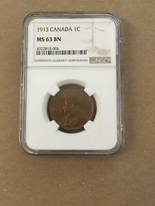 Canada Canadian Large Cent Penny George V NGC MS 63 1913 Rare