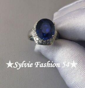 Belle-bague-argent-925-ciselee-couleur-bleu-Saphir-et-blanc-T-51-5