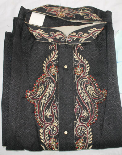 Black Designer Men Kurta Pajama Shirt Free Shawl Large Fast shipping in 3 days