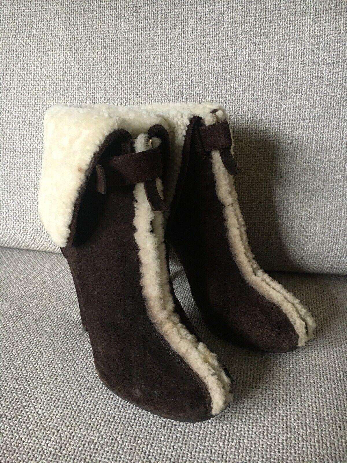 ahorre 60% de descuento DSQUArojo de piel de oveja de piel piel piel de oveja Gamuza Marrón botas  artículos de promoción