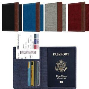 Premium-Fabric-Passport-Holder-Wallet-Case-Cover-RFID-Blocking-Travel-Wallet