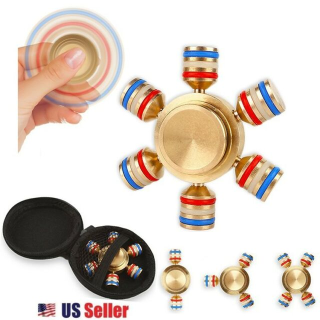 PLATINUM EDITION Metal 2-Wing Fidget Spinner Stress Relief Toy with Tin Case