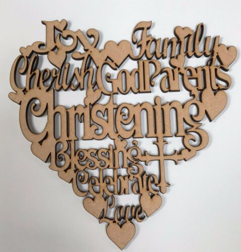 Christening wording heart 150 x 150mm wood plaque