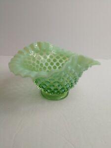 Vtg-Fenton-Hobnail-Green-Opalescent-Uranium-Glass-Ruffle-Bowl-Vaseline-Rare