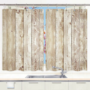 Details about Rustic Barn Old Wooden Plank Wall Kitchen Curtains Window  Drapes Set 55x39\