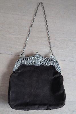 Antike Abendtasche Tasche Blumen Schwäne Bügel Silber 800 Neue Tasche Wildleder Eine GroßE Auswahl An Modellen