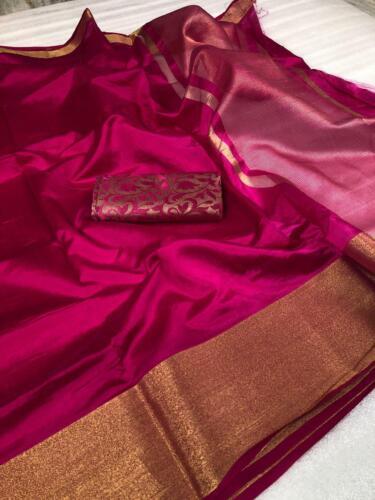 Indian Party Wear Cotton Silk Saree Blouse New Design Kanchipuram silk Sari  KK