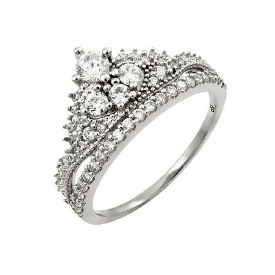 SURANO DESIGN JEWELRY Sterling Silver Ladies Double Open Heart Ring w//Cubic Zirconia Stones