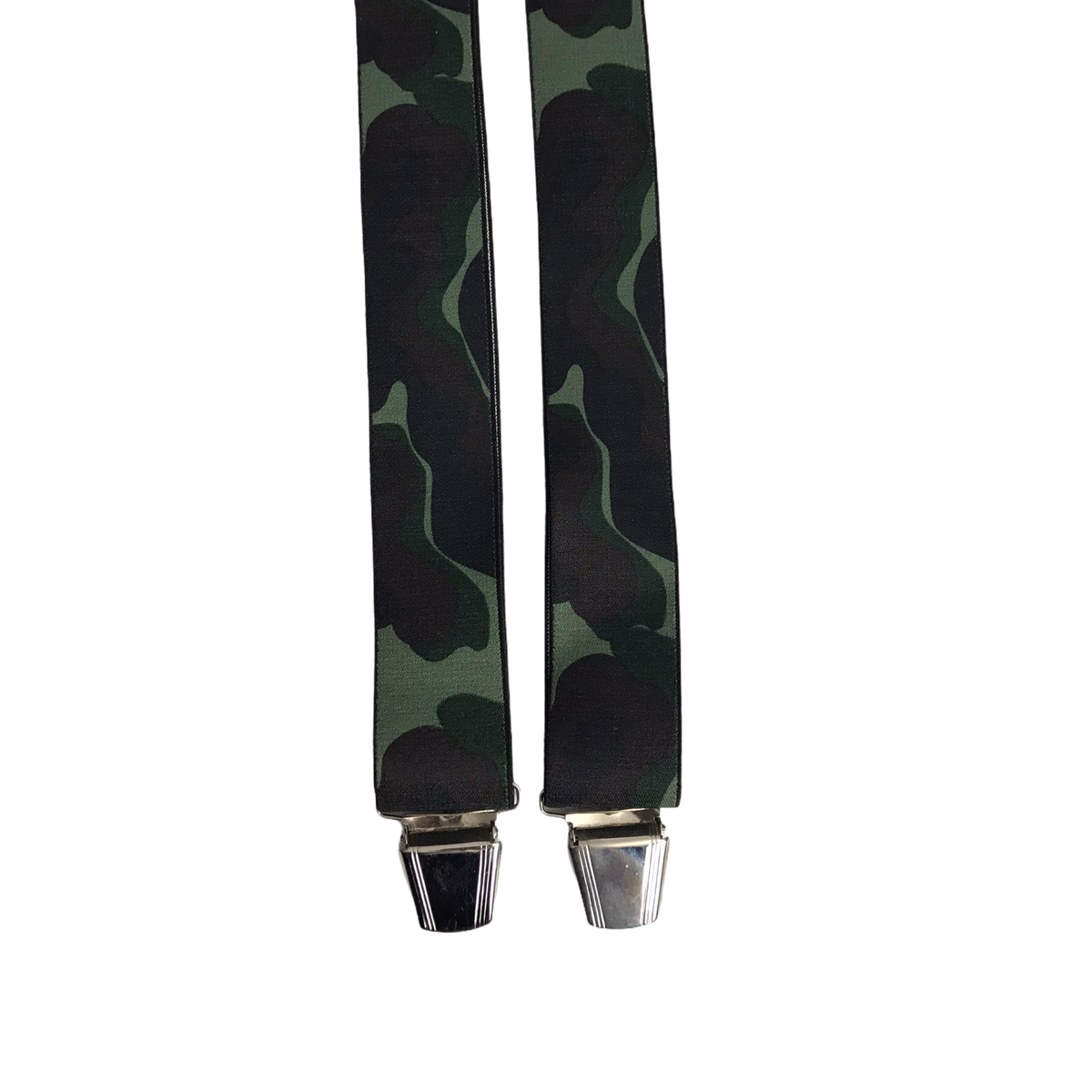 PCT Germany Green Camouflage X-Shape Thick Adjustable 4-Clip Braces Suspenders