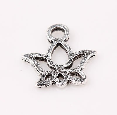 15pcs Tibet Silver Flower Loose Bead Pendant Jewelry Making Bracelet 13x12mm
