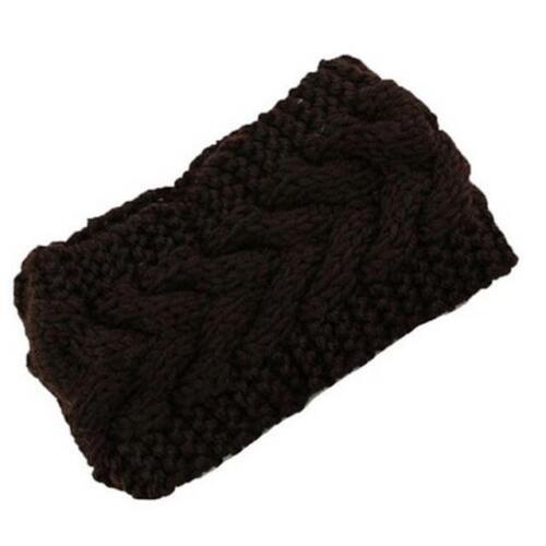 Damen häkeln Turban gestrickte Kopf wickeln Stirnband Winter Ohr wärmer Haarband