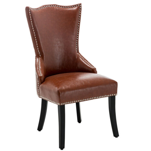 Red Faux Leather Kitchen Dining Chair Knocker High Back Accent Seat Luxury Home