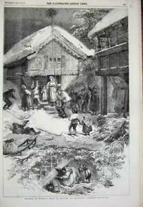 Original-Old-Antique-Print-1856-Winter-Scene-Norway-Houses-Children-Tidemand