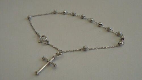 """925 Sterling Argent Brillant Chapelet Croix Bracelet avec Diamond Cut beeds//7 1//4/"""""""