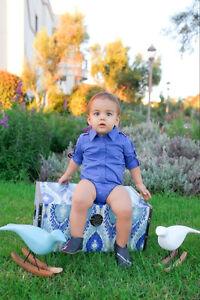 Boy dressy cotton 3 4 sleeve royal blue dress shirt bodysuit 3 12 mths