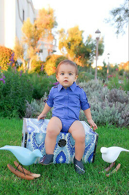 Baby Boy Dressy Cotton 3/4 Sleeve Royal Blue Dress Shirt Bodysuit - 3-12 mths