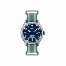 Orologio Uomo TIMEX WATERBURY ABT509 Tessuto Verde Blu INDIGLO