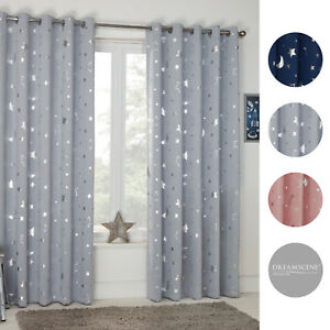 Dreamscene-Star-Thermal-Blackout-Curtains-PAIR-Eyelet-Ready-Made-Kids-Boys-Girls