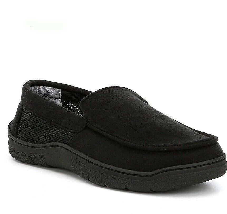 ROUNDTREE & YORKE men Memory Foam MOCCASIN SLIPPERS House Shoes BLACK Small 7-8
