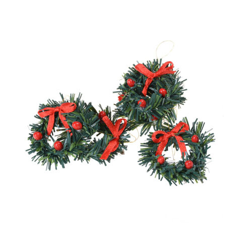 1:12 DollHouse Christmas Garland Decoration With Red Bow DIY Home Decor Gift $T