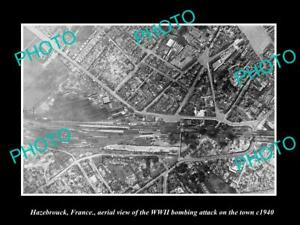 OLD-POSTCARD-SIZE-MILITARY-PHOTO-HAZEBROUCK-FRANCE-AERIAL-VIEW-BOMBING-c1940-1