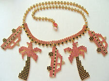Dorothy Bauer Huge Pink, Black and Crystal Rhinestone Necklace