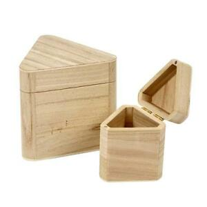 Set Of 2 Wooden Triangular Storage Box Decorate Paint Wood Craft