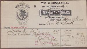 1913-New-York-Billhead-Wm-C-Constable-Fine-Havana-Cigars-Columbia-Segars