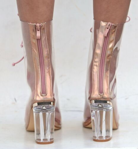 New Women FC45 Rose Gold Peep Toe Lucite Clear Heel  Lace Up Booties Ankle Boots