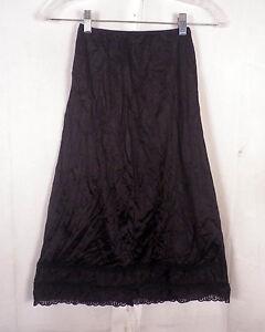vtg-60s-Sears-The-Doesn-039-t-Slip-black-Lace-Satin-1-2-Slip-Skirt-Lingerie-sz-S