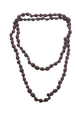 Eco Chic Earthly Dark Brown Beads   Embellished Wooden Long Necklace(Zx253)