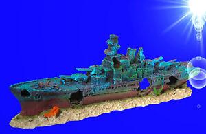 1A-Aquarium-Deko-48-cm-SCHLACHTSCHIFF-BISMARK-Hoehle-Schiffswrack-Zubehoer