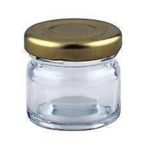 300-X-30ml-small-1oz-28g-MINI-GLASS-JARS-GOLD-LIDS-Jam-WEDDING-FAVOURS-HAMPERS