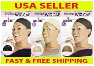 Stocking Wig Cap 2 Pcs Black Brown Natural Beige Nude Liner Weave Nylon Weaving