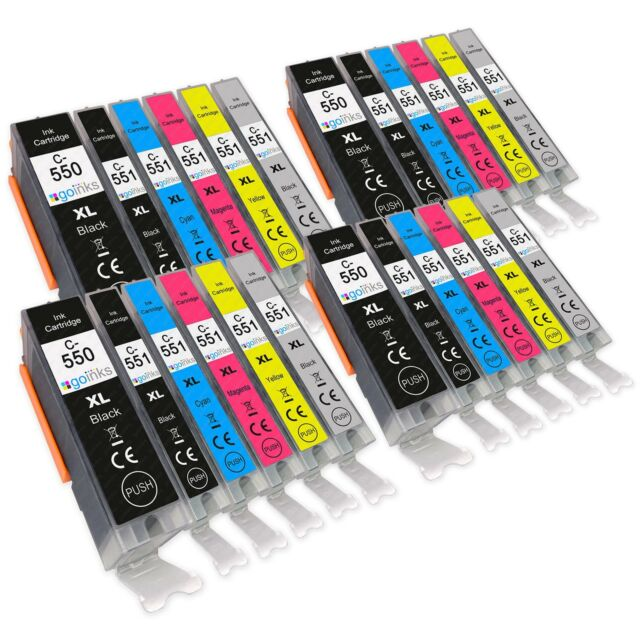 5 Set of Compatible Printer Ink Cartridges for the Canon 550-551 GY Range