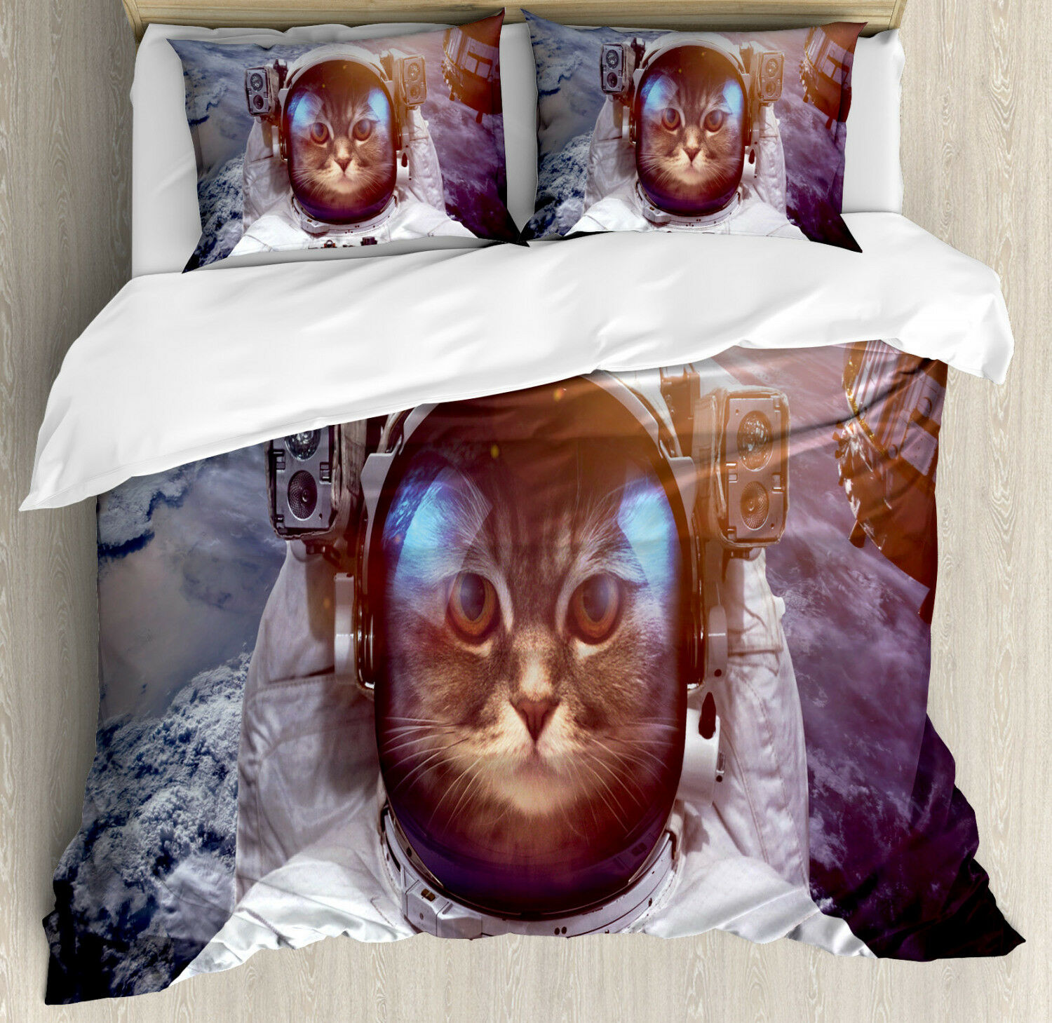 Cat Duvet Cover Set with Pillow Shams Space Satellite Eclipse Print