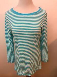 VINEYARD-VINES-aqua-blue-striped-long-sleeve-knit-top-shirt-Women-039-s-M