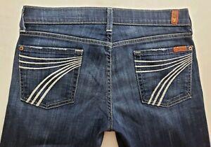 7-for-All-Mankind-Dojo-Womens-Denim-Blue-Jeans-Size-29-x-31-Wide-Leg-Dark-EUC