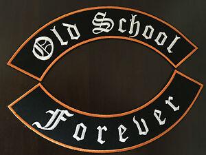 OLD-SCHOOL-Forever-patch-BANDERA-XL-Kit-cada-33x6-cm-rockabilly-Biker-habito-MC