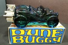 Vintage Blue Glass AVON DUNE BUGGY SPICY AFTER SHAVE w/ Original Box Chrome Engi