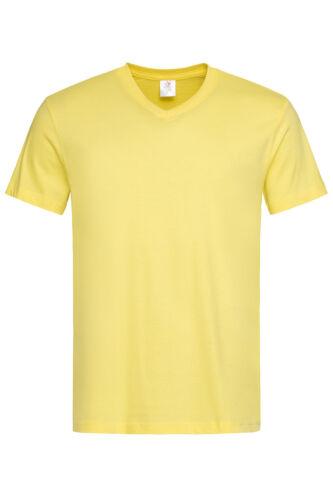 Plain YELLOW Cotton Mens Mans Short Sleeve Vee V-Neck Tees Tee T-Shirt Tshirt