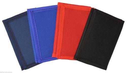 12 Pack Kids Mens Solid Color Tri-Fold Nylon Wallet